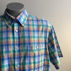 Plaid Orvis Short Sleeve Button Down Shirt XL